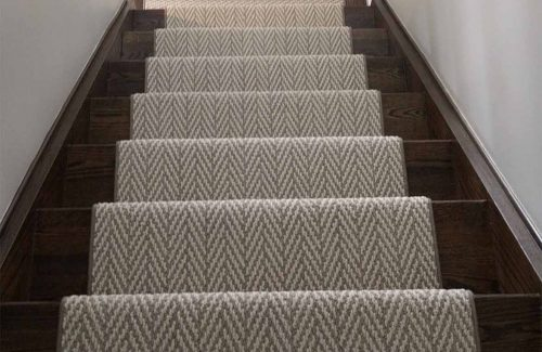 Herringbone- cheveron designer carpet runner for stairs and hallway