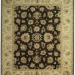 Black beige hand knotte wool area rug