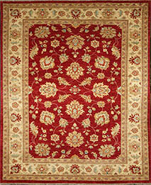 Red Chobi Wool Carpet handknotted wool rug