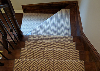 Herringbone design modern stair runners Toronto, carpet runner on stairs and large size pie steps