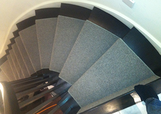 Solid Gray Colour Carpet Runner on Curve Staircase installation stair runners Mississauga