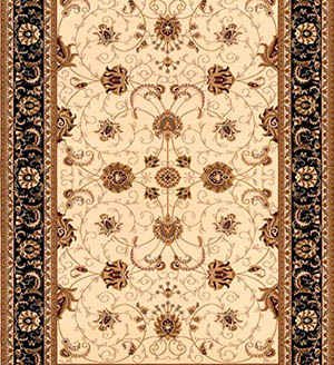 Black Cream Persian Carpet Runner for Stairs and Hallway
