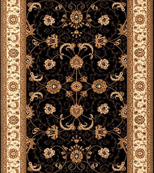 Black Gold Persian Carpet Runner for Stairs and Hallway