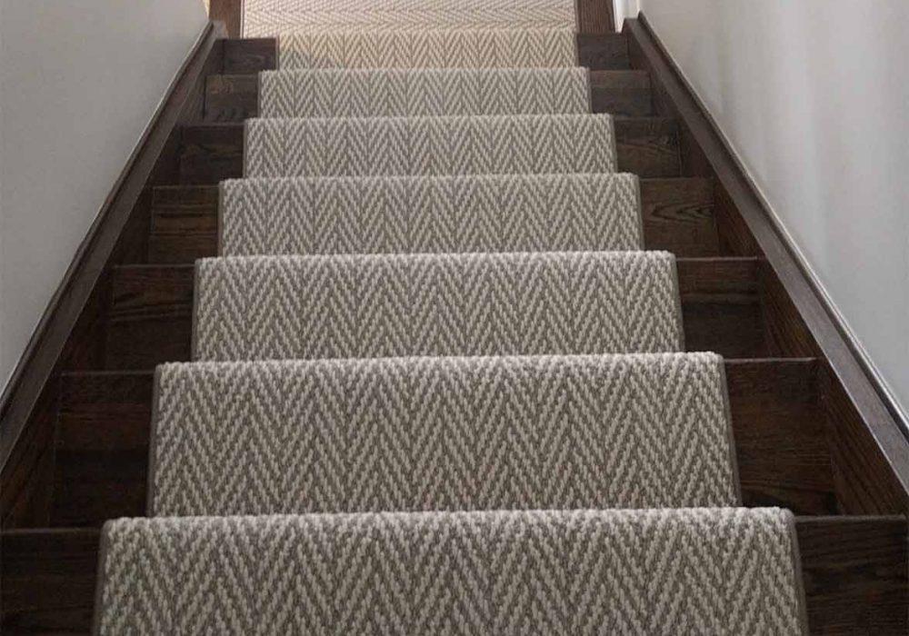 Herringbone- cheveron designer carpet runner for stairs and hallway